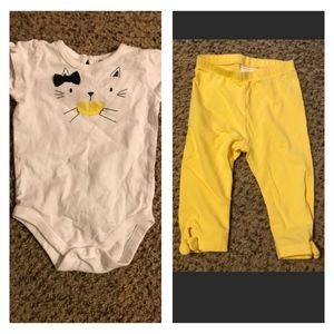 EUC Gymboree Kitty Lemon Matching Set